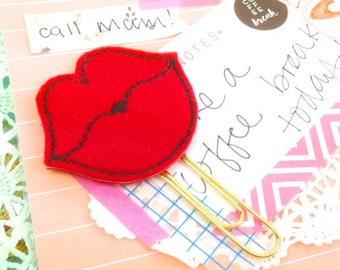Sexy Felt Lips Magnet or Planner Paper Clip Red Lips - Pink Lips Felt Kiss clip | Novelty Magnets - Sexy Gifts Romantic Gifts Planner Clips
