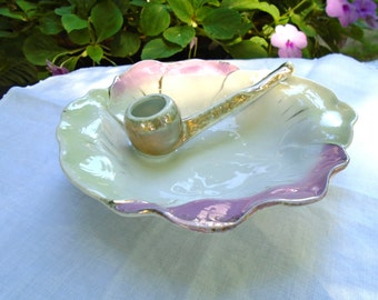 Awesome Vintage Pipe Ashtray / Shabby Chic Ashtray / Girly Ashtray / Pink Asytray / Made In Germany / Pink Flower Shape / Gold Trim