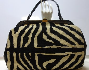 Vintage 60s Large One-of-a-kind ZEBRA Needlepoint Handbag