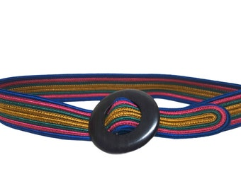 YSL Yves Saint Laurent Rive Gauche Vintage Silk Belt with Round Wood Buckle SzSm