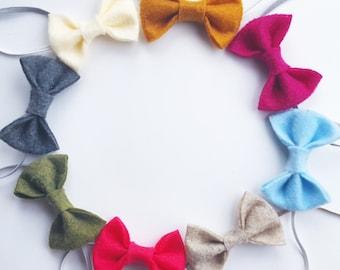 8 Felt Bow Headbands - Baby Girl - Newborn Photo Prop - Starter Set - Thin - Small - FELTY - Rustic Headband - Tiny Bow - Bulk - Infant