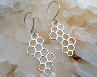 Sterling Silver Honeycomb Hexagon Earrings