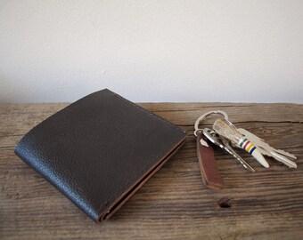 Leather Billfold Wallet - Repurposed Dark Brown Leather