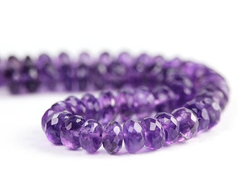 Amethyst Micro Faceted Rondelles 6 Grape Purple Dark Purple Semi Precious Gemstone