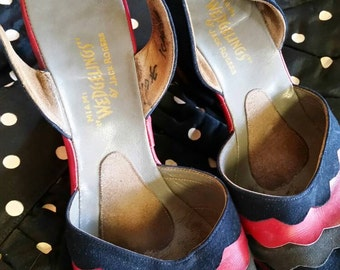 Wedgelings by Jack Rogers 1940's wedges in 6.5 N but fits up to 7.5 navy grey red scallops