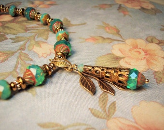 Turquoise Carved Bead Necklace