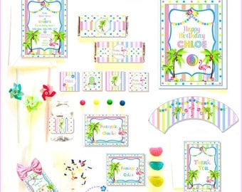 FLAMINGO PARTY COLLECTION ~ Personalized Printable Download