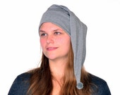 Cotton Nightcap Gray Adult Men Women Night Cap Lightweight Elf Hat Beanie to Sleep in Pajama Hat Grey Poor Poet Hat