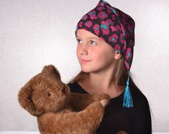 Childs Black Floral Night Cap with Tassel Girls Boys Kids Sleep Hat Nightcap Magenta Teal Warm Winter Hat