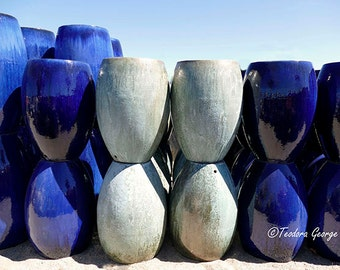 Blue and White Pots Photography, Still Life Photo, Garden