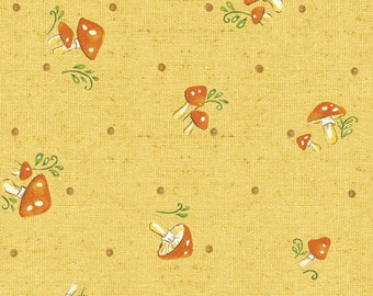 Custom Listing for Jasmine - Forest Frolics - Gold Mushrooms from Red Rooster Fabrics - 6 yards