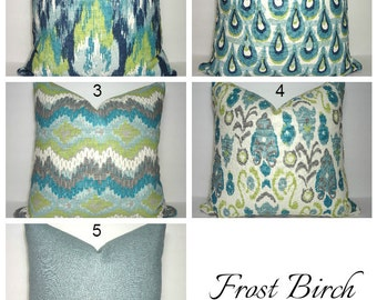 Frost Birch Collection Coordinating Pillow Covers Blue Green Navy Ivory Ikat Peacock Patterns Choose Size