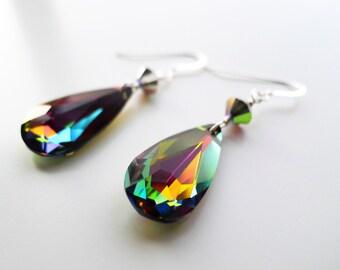 Crystal Vitrail Medium Faceted Teardrop Pendant Swarovski Elements Earrings in Sterling Silver, Multi-Color Bridal Wedding Jewelry