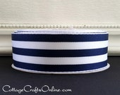 "Wired Ribbon, 1 1/2"" , Navy Blue and White Stripe - THREE YARDS - Offray ""Carnival"", Grosgrain Style Nautical, Striped Wire Edged Ribbon"