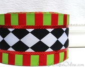 """Christmas Wired Ribbon, 2 1/2"""", Black and White Harlequin, Red Lime Green Stripe - TEN YARD ROLL,  """"Christmas Harlequin""""  Wire Edged Ribbon"""