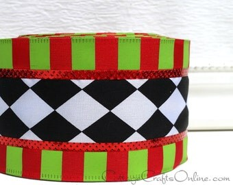 "Christmas Wired Ribbon, 2 1/2"", Black and White Harlequin, Red Lime Green Stripe - TEN YARD Roll - ""Christmas Harlequin"" Ribbon"