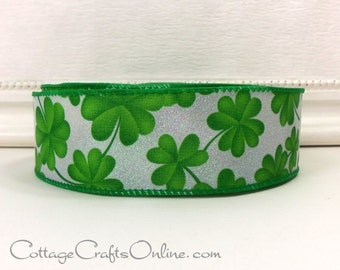 """Wired Ribbon, 1 1/2"""" Shamrocks Green White Glitter St. Patrick, THREE YARDS, Offray """"Clover All Over"""", St Patrick's Day Wire Edged Ribbon"""