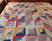 """Vintage 1930s Log Cabin Cotton Quilt; Hand Quilted; Light Weight; Intricate; 68"""" x 80""""; Twin; Topper for Double or Queen; Light Color Prints"""
