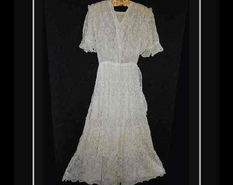 Antique Wedding Dress Victorian Lacey Ivory Tiered Ruffled Sleeves – Small