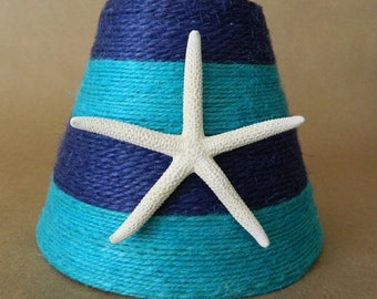 Jute Wrapped Navy and Turquoise Striped Chandelier Lampshade with Pencil Starfish Coastal Decor Custom Order Only