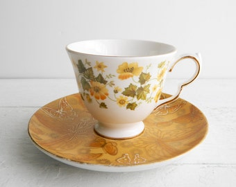 Vintage Yellow Mismatched Tea Cup & Saucer - Queen Anne Teacup and Dorothy Thorpe Butterflies Plate