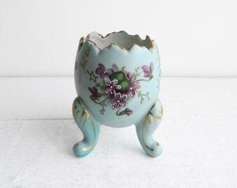 Vintage Robin Egg Blue Egg Cup Vase - Purple Forget Me Nots - Victorian Style Shabby Cottage Decor - Porcelain Trinket Dish