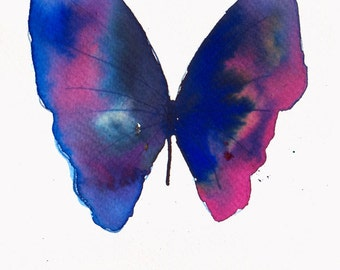 ultramarine blue and pink butterfly original watercolour painting