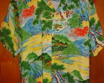 Mens Vintage 50s Polynesian Sportswear Rayon Asian Fusion Aloha Shirt - L - The Hana Shirt Co