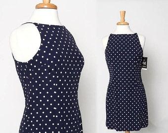 ON SALE Vintage NOS 90s Sailor Navy Blue White Polka Dot Dress