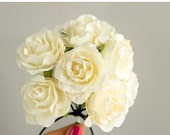 SALE 10% OFF 12 Paper Flowers / One Dozen IVORY Roses With Wire Stems