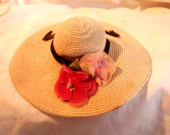 Antique French Straw Doll's Hat Millinery flowers