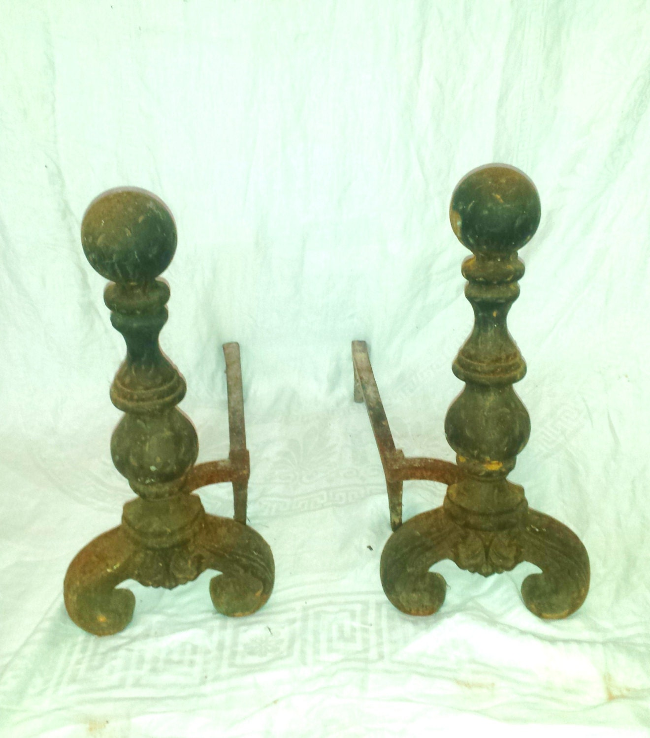 Antique Cast Iron Cannonball Andirons A Pair