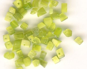 DOLLAR DEAL, Clearance, Glass Cat's Eye Chips, 5-8mm, Tree of Life Stone Chips, Lime Green Chips, Stone Chip, Bargain Deal, Best Deal, Green
