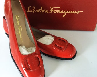 Red Ferragamo Shoes // Patent Leather Flats // MOD Buckle Slip On // Size 7.5 AAA narrow // Red