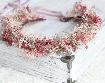 tie back baby breath wreath,flower girl crown