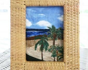 Tropical Beach - Framed Mini Art Quilt