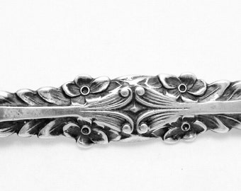 Vintage Cini Art Nouveau Sterling Silver Long Ornate Bar Pin 21784
