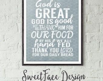 God Is Great God Is Good prayer vintage inspired art print, kitchen decor, wall art