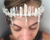 Bohemian Angel Crown, aura quartz crystal crown, raw crystal beaded crown, beaded crystal headpieces, bridal crown, boho bride