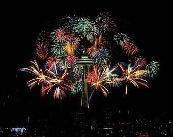 Fireworks photo, Seattle Photo, home decor, patriotic decor, wall decor, Space Needle Photo, Seattle Picture