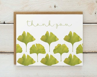 Ginkgo Thank You Cards, Gingko Thank You Notes, Ginkgo Wedding Thank You Cards, Leaf Thank You Cards, Botanical Thank You Card Set of 10