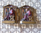 Brass Reading Priest Bookends