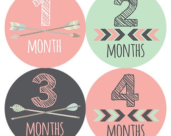 FREE GIFT, Tribal Month Stickers Girl, Arrow Month Stickers Girl, Monthly Baby Stickers Girl, Arrows, Chevron, Tribal, Pink, Mint, Gray Grey