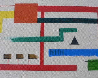 vintage painting modern art, amatuer art on board  from Diz Has Neat Stuff
