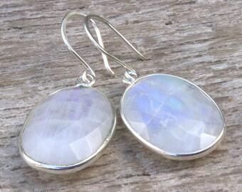 Moonstone Sterling Silver Earrings, Rainbow Moonstone Earrings, Rose Cut Moonstone, June Birthstone Jewelry, Moonstone Drop Dangle Earrings