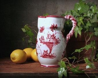 Italian ceramic pitcher, Hand decorated pitcher, Italian faienceware, rustic Italian decor