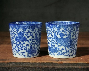 Blue phoenix cups, Asian decor teacups, blue and white transferware cups