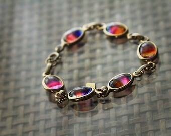 Vintage Sarah Coventry Rainbow Glass Cabochon Stone Bracelet