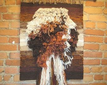 Large Vintage Handmade Woven Fiber Fibre Textile Art Wall Hanging Brown Rust Tan