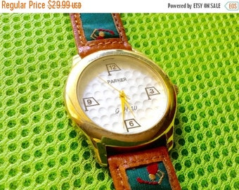 Parker Men's golf watch vintage watch golf watch rare unusual design golf themed watch collectors watch